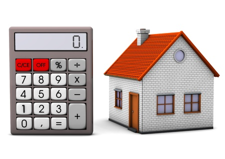 realtor: A house on the big pocket calculator. White background. Stock Photo