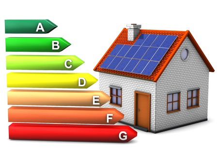 solar roof: House with energy pass symbol. White background. Stock Photo