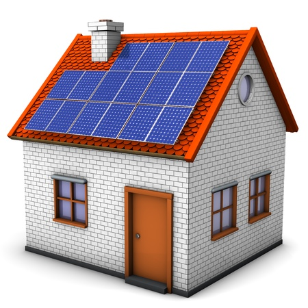 photovoltaic: House with solar panels on the white background. Stock Photo