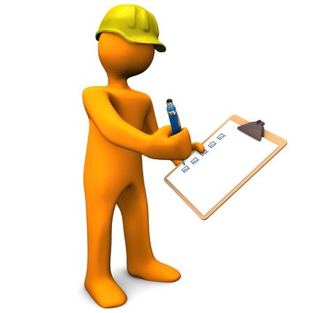 control de calidad: Personaje de dibujos animados con Orange portapapeles y casco amarillo. Fondo blanco.
