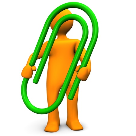 paperclip: Orange cartoon character with green paperclip.