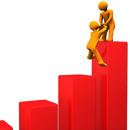 Orange cartoon characters attain the summit of green chart. Banco de Imagens