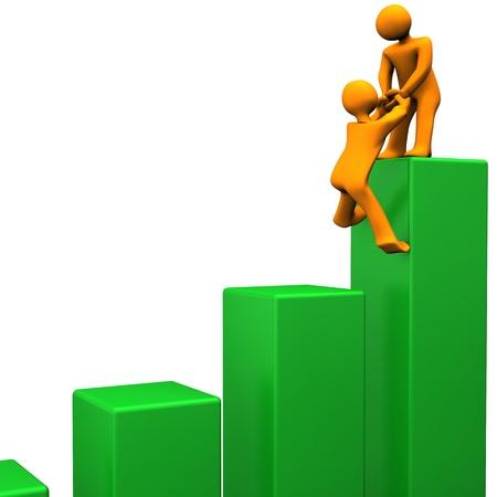 Orange cartoon characters attain the summit of green chart. Stock Photo - 15933780