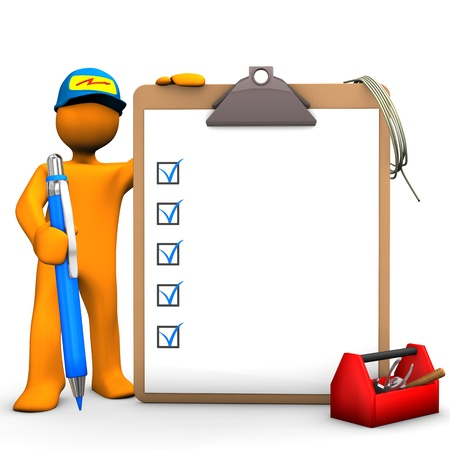Orange cartoon character as with blue pen, clipboard and tool box. White background.