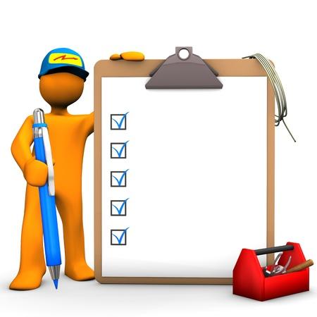 Personnage de dessin animé orange comme avec un stylo bleu, presse-papiers et boîte à outils. Fond blanc.