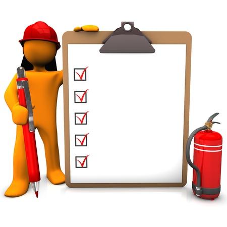brandweer cartoon: Oranje cartoon karakter als brandweerman met rode pen en klembord.
