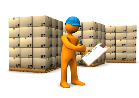 inventory: Orange cartoon character with clipboard and pallets. White background. Stock Photo