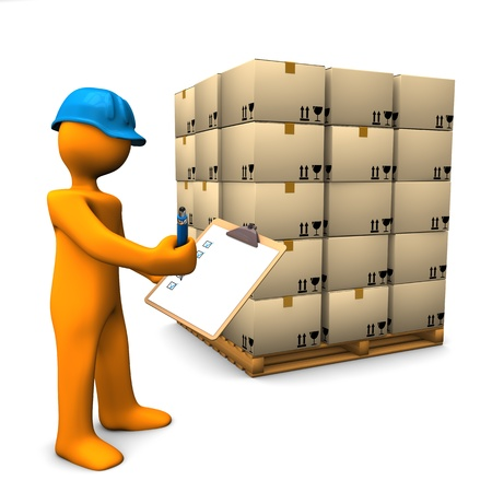 inventories: Orange cartoon character with clipboard and pallet. White background. Stock Photo
