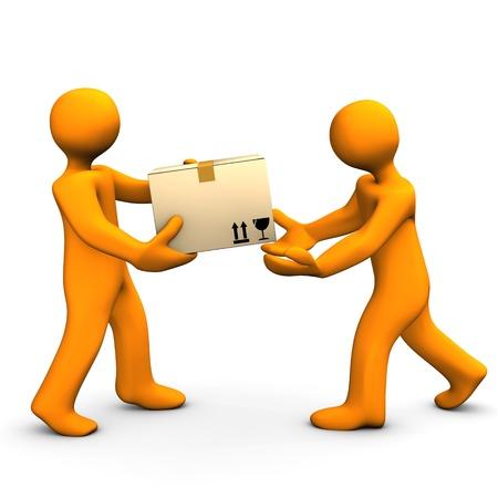 forwarding: Two orange cartoon characters with carton. White background. Stock Photo