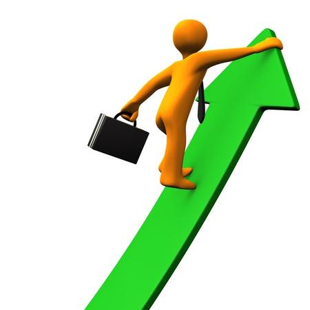 Orange cartoon character climbs on the green arrow. White background. Stock Photo - 15933778