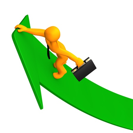 Orange cartoon character climbs on the green arrow. White background. photo
