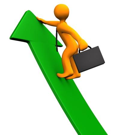 orange arrow: Orange cartoon character climbs on the green arrow. White background.