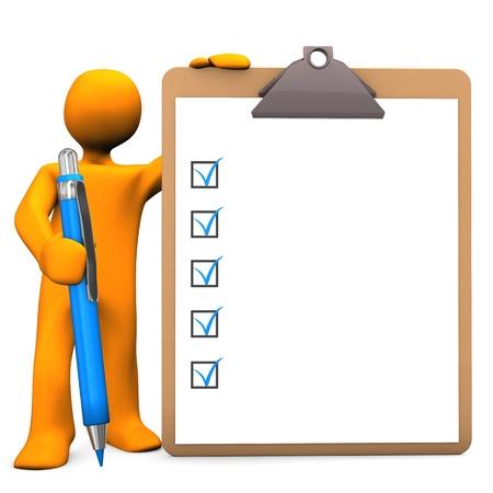 Orange cartoon Charakter mit Zwischenablage und blauen Stift Weißer Hintergrund