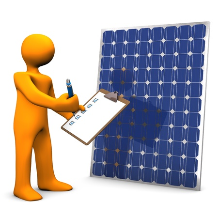 photovoltaic panel: Orange cartoon character with clipboard and solar panel