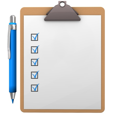checklist: Clipboard with blue pen on the white background