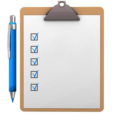 Zwischenablage mit blauem Stift auf den weißen Hintergrund