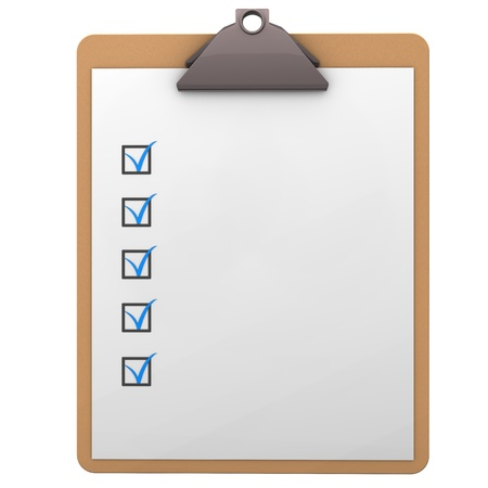 checklist: Illustration of clipboard on the white background