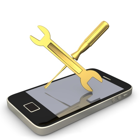 Smartphone with wrench and screwdriver  White background  photo