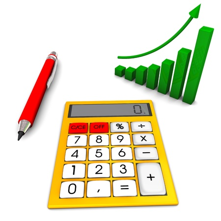 Yellow calculator with red pen and green chart on the white background