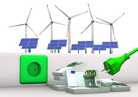 receptacle: Green socket with green plug, euro banknotes, solar panels and wind towers  White background  Stock Photo