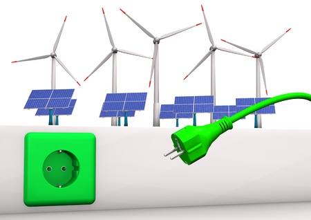 photovoltaic power station: Green socket with green plug, solar panels and wind towers  White background  Stock Photo