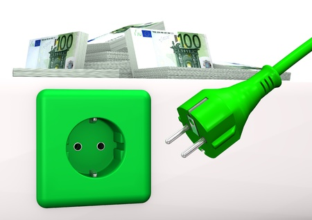 Green socket with green plug and euro banknotes  White background  photo