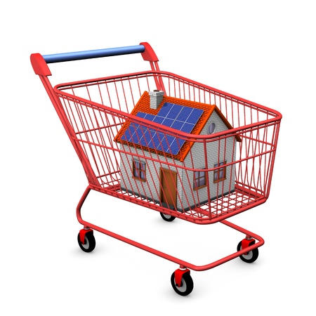 shopping buggy: Shopping cart with house on the white background.