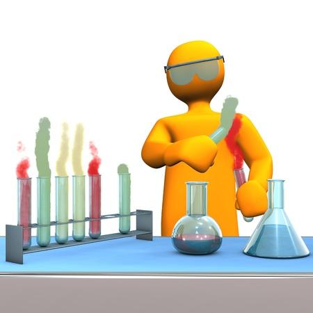 Orange cartoon Charakter als Chemiker mit Reagenzgläsern.