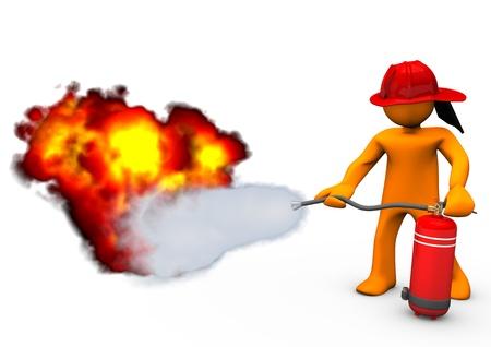 brandweer cartoon: Oranje stripfiguur blaast het vuur met brandblusser. Stockfoto