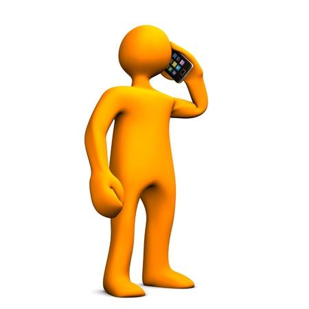Oranje stripfiguur telefoons met smartphone. Witte achtergrond. Stockfoto