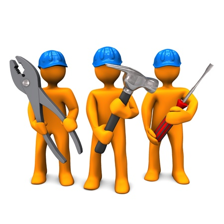 orange cartoon: Three orange cartoon characters with blue helmets and tools in the hands. White background.
