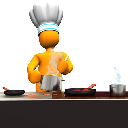 Orange cartoon character as cook in the kitchen. photo