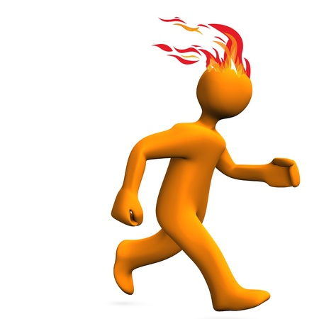 fire rescue: Orange cartoon character runs on the white background. Stock Photo