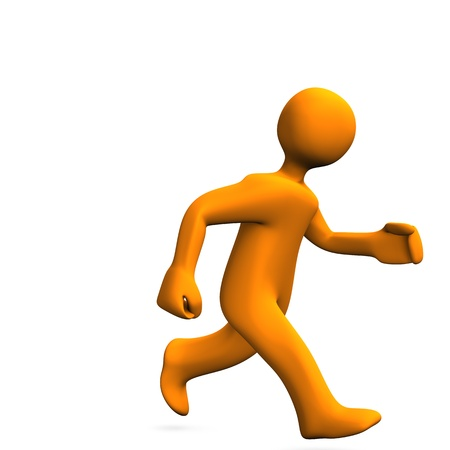 orange cartoon: Orange cartoon character runs on the white background. Stock Photo