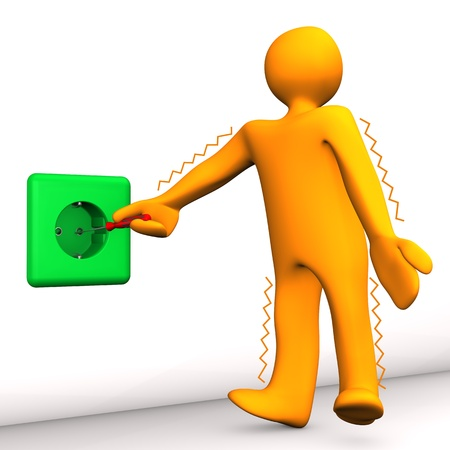 descarga electrica: Personaje de dibujos animados de Orange tiene un fondo blanco una descarga el�ctrica Foto de archivo