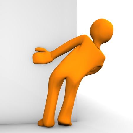 Orange cartoon as stalker on the white background  Stock Photo
