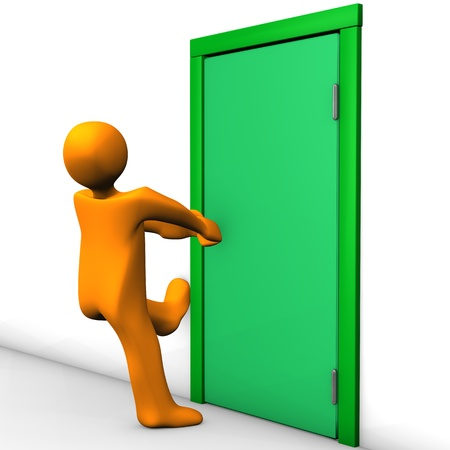 Orange cartoon character can not open the exit door  photo