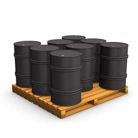 panoply: Pallet with oil barrels on the white background