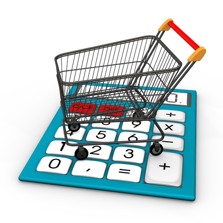 export import: Calculator with shopping cart on the white background
