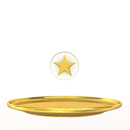 Symbol for one-star chef, golden stars and plate on the white background  Stock fotó