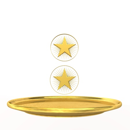 Symbol for two-star chef, golden stars and plate on the white background