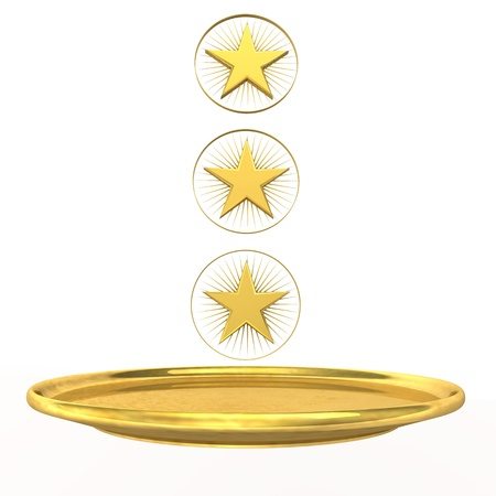 Symbol for three-star chef, golden stars and plate on the white background