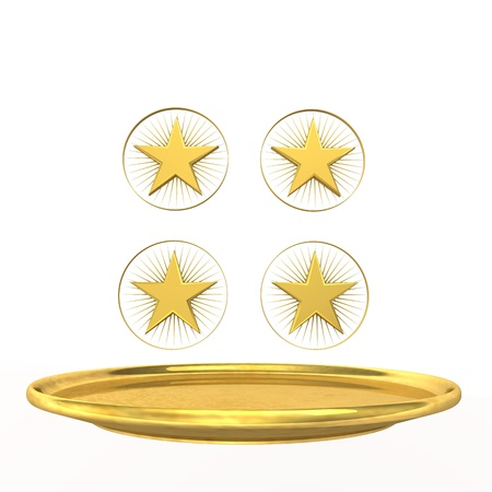 Symbol for four-star chef, golden stars and plate on the white background