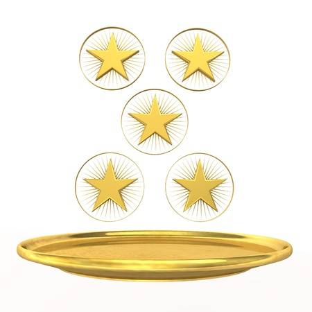 five star: Symbol for five-star chef, golden stars and plate on the white background  Stock Photo