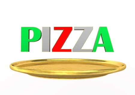 Italian text  PIZZA  with golden plate  White background