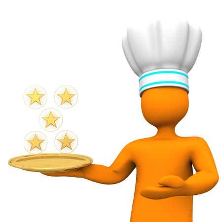 Orange cartoon character as five-star chef with golden stars  White background  photo