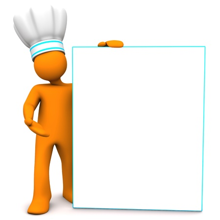 entree: Orange cartoon character as chef with white signboard  White background  Stock Photo