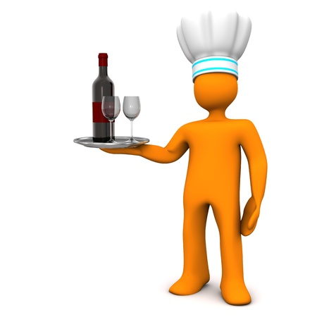 Orange cartoon character with the red wine bottle and two wineglasses  White background  photo