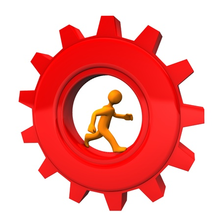 Orange cartoon character in the red gear wheel  White background  photo