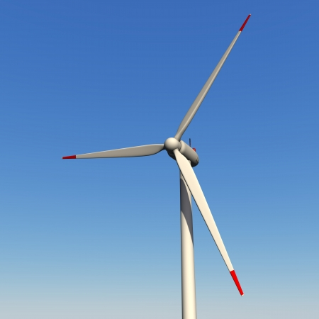 Wind turbine for a blue sky  3d illustration  illustration